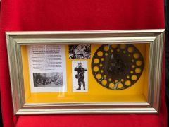 Glass framed German Telephone wire cable reel remains recovered from Delville wood on the old German trench line of 1916 on the Somme battlefield