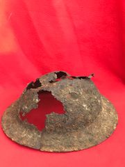 Rare Australian or US soldiers 2nd Pattern British Brodie Helmet,relic ,battle damaged recovered from the July 1918 battlefield at Le Hamel on the Somme