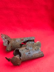 Pair of remains from German panzerfaust heads recovered from the Seelow Heights 1945 battle of Berlin, Germany