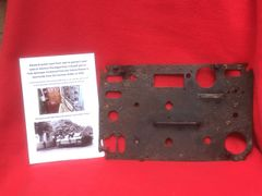 Electrical Panel cover from next to gunners seat used inside a German Sturmgeschutz 3 destroyed in the battle recovered from the Falaise Pocket in Normandy summer 1944 battlefield
