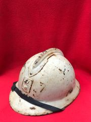 French soldiers M1926 Adrian helmet complete with Defence Passive badge used by civil defence groups complete with leather liner and chin strap found in Arras