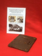 Cover from Kasten PZ number 24 intercom amplifier box used inside a German Sturmgeschutz 3 destroyed in the battle recovered from the Falaise Pocket in Normandy summer 1944 battlefield