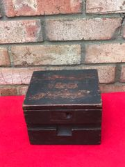 RARE German spring mines 35 also known as bouncing betty bomb wooden accessories box dated 1940 recovered from a Farm near Arras used in the battle of France in 1940