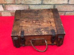 Rare smaller German wooden crate for 3 fixed hollow charge rounds for 7.5cm Leichtes Infantry support gun in nice condition with label inside dated last packed 28th June 1944 found in Belgium