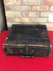 German wooden stick grenade crate,black painted with labels one dated April 1944 found in Normandy from 1944 battlefield