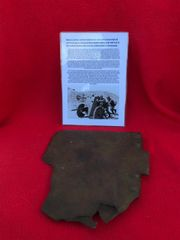 Blown section of front shield from German 3.7cm PAK 36 anti tank gun recovered from Death Valley near Hill 112 the battle in the Falaise Pocket on the Normandy battlefield of 1944