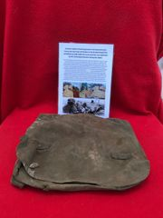 German soldiers bread bag found in the basement of a house near Priekule in the Kurland pocket defended by the SS Nordland Division during the battle with photographs of its recovery in 2018