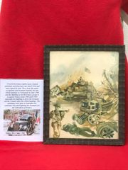 Glass framed colour painting British troops landing on D-Day done by a French Resistance fighter who done many pictures and paintings of the fighting in 1944 and German occupation in the years before