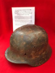 German 9th Army Luftwaffe soldiers M35 single decal,leather liner,named helmet recovered from a Lake South of Berlin in the area the 9th Army fought,surrendered in April 1945 during the battle of Berlin
