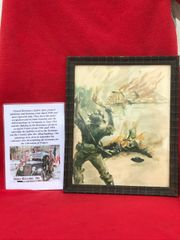 Glass framed colour painting German troops burning village done by a French Resistance fighter who done many pictures and paintings of the fighting in 1944 and German occupation in the years before