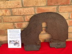 Armoured shield from wheeled carriage with battledamage used by Russian maxim machine gun model 1910 recovered from the Demyansk Pocket Battlefield in Russia 1941-1942