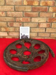 German half track wheel with battle damage recovered from Death Valley near Hill 112 the battle in the Falaise Pocket on the Normandy battlefield of 1944