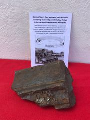 German Tiger 1 tank large armoured plate section 80 mm thick from the turret ring,nice condition recovered in the Falaise Pocket in Normandy from the 1944 Summer battlefield