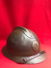 French Army pioneer soldiers M1926 Adrian helmet complete with leather liner and chin strap in fantastic condition,perfect example found in Arras