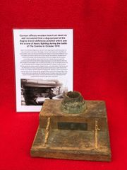 Very rare German officers wooden trench art desk ink well recovered from a dug out part of the Regina trench defensive position October 1916 battlefield on the Somme