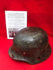 German 9th Army Luftwaffe soldiers M35 single decal,complete leather liner helmet recovered from a Lake South of Berlin in the area the 9th Army fought,surrendered in April 1945 during the battle of Berlin