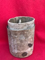 German cardboard powder charge canister for F.H 18 artillery gun found in a barn on Farm nera St Lo in Normandy 1944 battlefield