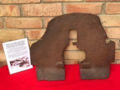 Armoured shield from wheeled carriage with battledamage used by Russian maxim machine gun model 1910 recovered from the Demyansk Pocket Battlefield in Russia 1941-1942 battlefield