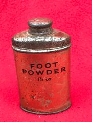 British soldiers foot powder tin dated 1940,nice condition with markings and full recovered from the Beech at Dunkirk from pocket of 1940