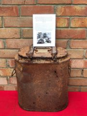 German Essentrager hot food rations container with sand colour paintwork recovered from the area where the German 30th infantry division fought near Tilti in the Kurland Pocket the battlefield of 1944-1945