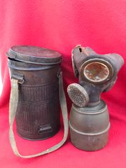 French soldiers gas mask tin dated 1926 complete with gas mask dated 1939 found in Arras from the battle of France