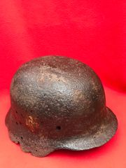 German Soldiers M40 Helmet with leather remains, double decal,nice clean relic recovered the Stalingrad battlefield 1942-1943 in Russia