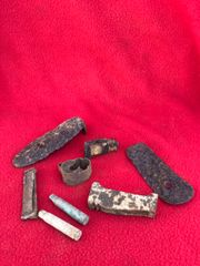 Group of rifle parts in relic condition recovered in 2015 from the old German trench line at La Boisselle on the 1st July 1916 Somme battlefield