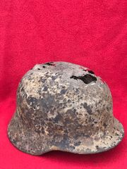 German soldiers of the Panzer Lehr Division M35 steel helmet with liner recovered near Rochefort attacked by the Panzer Lehr division in the Ardennes Forest 1944-1945 battlefield