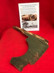 Larger size section of wooden air frame panel with green paintwork from British Horsa Glider landed on the 6th June 1944 during the D-Day landings in Normandy