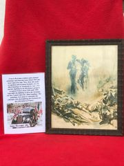 Glass framed painting of dead comrades dated 1944 done by a French Resistance fighter who done many pictures and paintings of the fighting in 1944 and German occupation in the years before