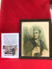 Glass framed colour painting portrait of Resistance fighter done by a French Resistance fighter who done many pictures and paintings of the fighting in 1944 and German occupation in the years before