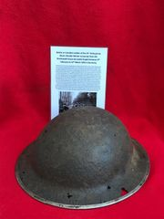 21st Army group Soldiers mark 2 brodie helmet with paintwork recovered from the Reichswald Forest part of the Siegfried Line the battle fought between 8th February to 11th March 1945 in Germany
