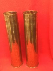 Matching pair of French 75mm brass shell cases trench art with scratched flower 1914-1918 design the cases are dated 1917 and 1918 found on the Somme battlefield