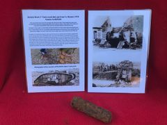 Rare track link pin recovered from British Mark 5 Tank destroyed during the Battle of Le Hamel on the 4th July 1918,Australian and American offensive on the Somme battlefield