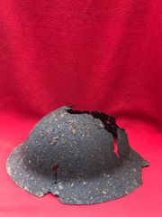 British 1st Pattern Brodie Helmet in relic condition used by an Australian or US solider recovered from the 1918 battlefield in Le Hamel on the Somme