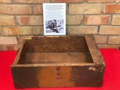 German artillery shell camouflage painted wooden ammunition crate Found on a Farm outside Mons left over from the surrender by the Germans in the Mons pocket in September 1944