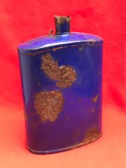 British soldiers blue Water Bottle nice condition relic recovered from the battlefield at Passchendaele from the 1917 battle part of the third battle of Ypres