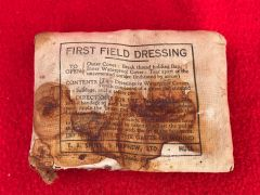 British soldiers bandage dated 1941 stained possibly blood recovered from a farm building in the village of bras near Bastogne re captured by British and American forces in the Ardennes Forest 1944-1945 battlefield in Belgium
