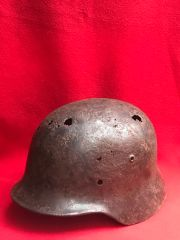 German soldiers M35 helmet nice condition,original paintwork recovered from the area where the German 30th infantry division fought near Tilti in the Kurland Pocket the battlefield of 1944-1945