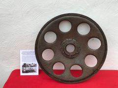 German track wheel with some paint remains from sdkfz 251 halftrack recovered from Priekule in the Kurland pocket an area defended by the SS Nordland Division during the battle