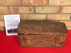 German metal carry crate for 10.5CM LEFH 18 field howitzer the box which held 3 cartridges,with marking recovered from Death Valley near Hill 112 the battle in the Falaise Pocket on the Normandy battlefield of 1944