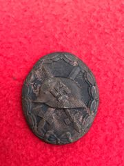 German soldiers wound badge in black medal,very nice condition relic recovered from Priekule in the Kurland pocket defended by the SS Nordland Division during the battle