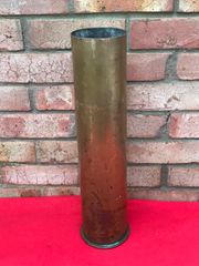German 105 mm shell case dated 1916 nice condition,shiny brass used on the 10.5cm LEFH 16 field howitzer found on the Somme battlefield of 1916-1918