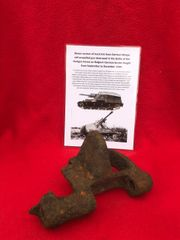 Blown section of track link from German Wespe self-propelled gun destroyed in the battle of the Hurtgen Forest winter 1944 on the German border