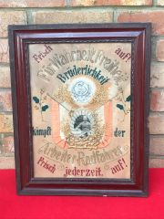 Original German Great War soldier glass framed remembrance picture for a soldier killed at the front with his photograph