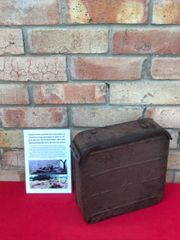 Russian maxim ammunition tin recovered in 2018 from a scrap yard in the 1944-1945 Kurland Pocket, Latvia