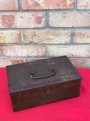 German storage box for rolls of fabric for uniforms dated 1941 nice condition,paintwork,faint original marking on the lid found in France from the occupation