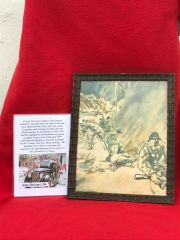 Glass framed colour painting German troops burning,attacking village done by a French Resistance fighter who done many pictures and paintings of the fighting in 1944 and German occupation in the years before