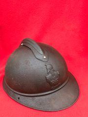 French Engineers M15 Adrian helmet still has some of its original dark blue paintwork,liner rim found in Verdun 1914-1918 battlefield