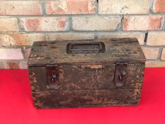 German wooden 2 shell ammunition box with green paintwork found on the Ypres battlefield in Belgium of 1914-1918